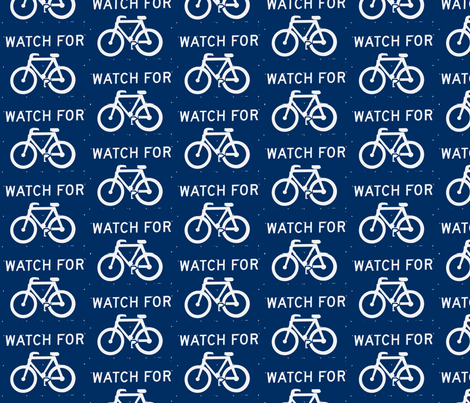 Watch for bicycles fabric by blue_jacaranda on Spoonflower - custom fabric