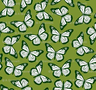 butterflies in greens