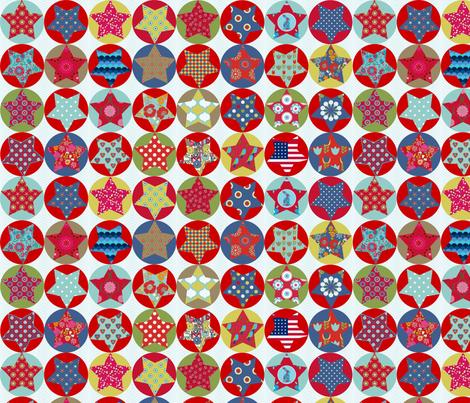 set_etoile_vintage_fond_clair fabric by nadja_petremand on Spoonflower - custom fabric