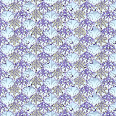 ©2011 dainty mermaidweddingfeast amethyst gold sv500 fabric by glimmericks on Spoonflower - custom fabric
