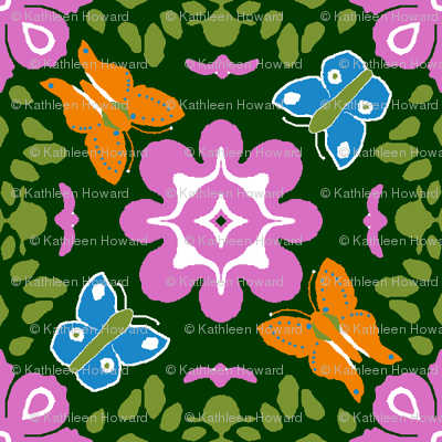 Fantasy orange_and_blue_butterflies (please view as swatch or zoom)_18