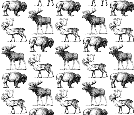 Vintage Hoofed Heavy Weights in Black fabric by icarpediem on Spoonflower - custom fabric