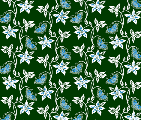Midnight Garden - Blue Butterflies & Flowers Virtual Batik fabric by mina on Spoonflower - custom fabric