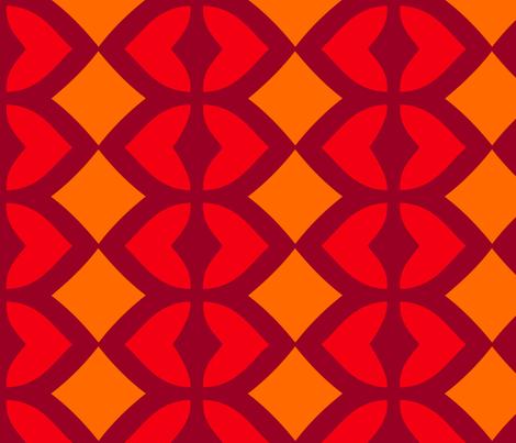 Chain of Hearts (Orange) fabric by nekineko on Spoonflower - custom fabric
