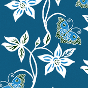 Blue Butterflies & Flowers Virtual Batik_ medblue_texture