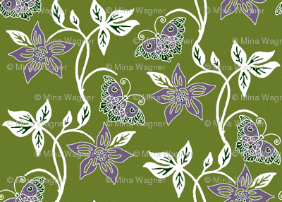 Butterflies & Flowers Virtual Batik_white_purple_OLIVE