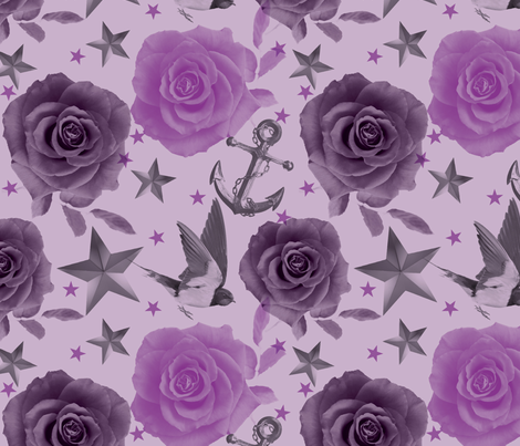 Girly Tatts Purple fabric by cynthiafrenette on Spoonflower - custom fabric