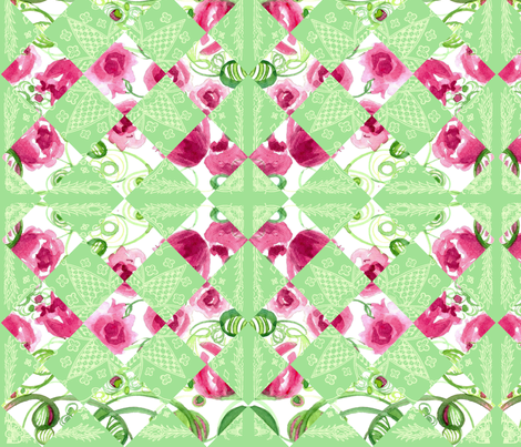 Diamond Roses fabric by countrygarden on Spoonflower - custom fabric