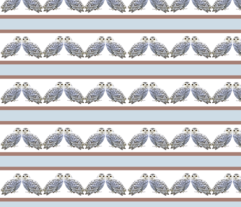 Stripey little snowy owls fabric by nezumiworld on Spoonflower - custom fabric