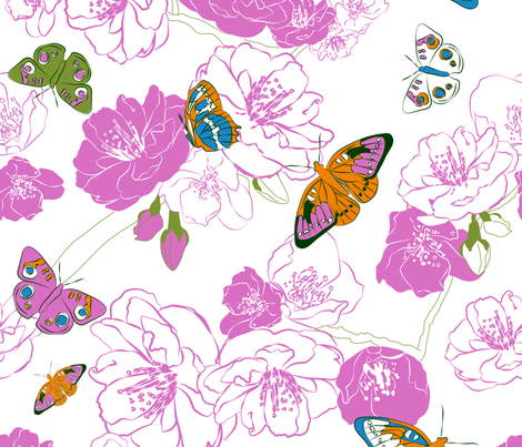 Butterflies love pink! fabric by newmomdesigns on Spoonflower - custom fabric
