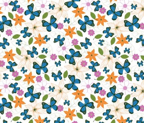 Blue Butterflies fabric by gracedesign on Spoonflower - custom fabric