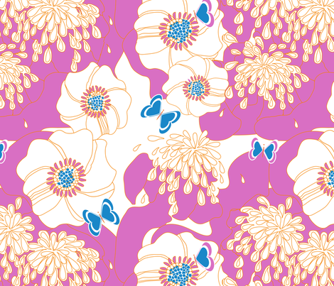 PAPILLON in PINK fabric by trcreative on Spoonflower - custom fabric