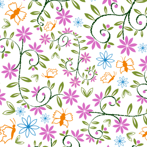 Floral butterfly print fabric by jasmo on Spoonflower - custom fabric