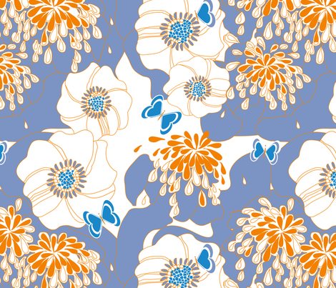 PAPILLON in CORNFLOWER fabric by trcreative on Spoonflower - custom fabric