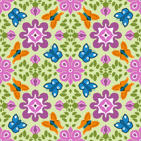 orange_and_blue_butterflies_21 fabric by khowardquilts on Spoonflower - custom fabric