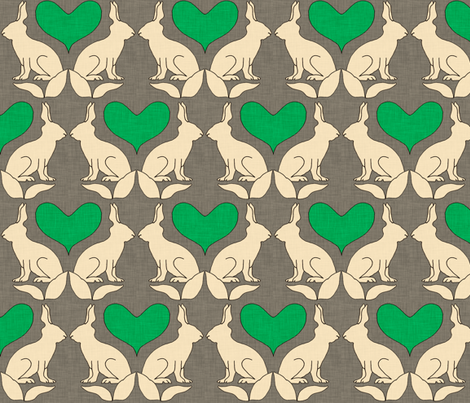 rabbit_and_heart_kelly_linen fabric by holli_zollinger on Spoonflower - custom fabric