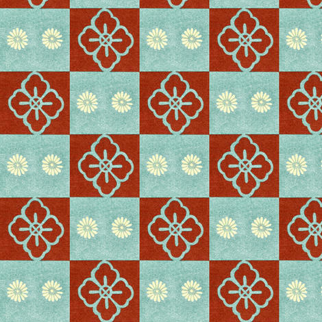 Honma Hayakuri Floral Check 1901 fabric by maxje on Spoonflower - custom fabric