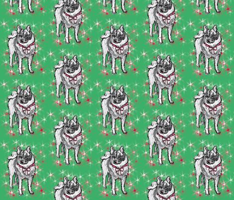 norwegian elkhound Christmas fabric by dogdaze_ on Spoonflower - custom fabric
