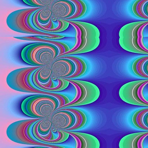 blue swirl with pink and green