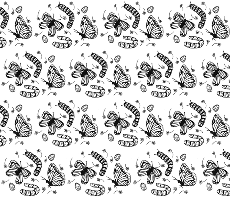 The Flutter Cycle- Black & White fabric by borealchick on Spoonflower - custom fabric