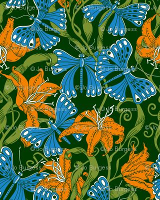 blue butterflies in tiger lilies