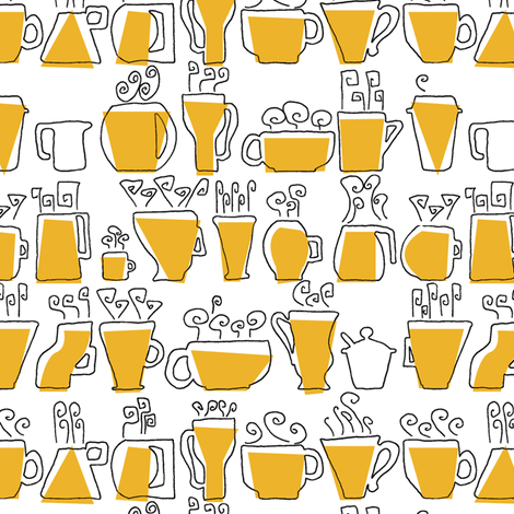 Coffee Mugs fabric by ravenous on Spoonflower - custom fabric