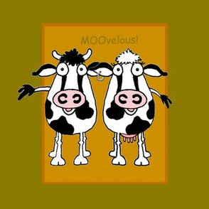 Cartoon cattle on beige and green
