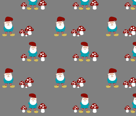 Gnomes and mushrooms on grey fabric by mayabella on Spoonflower - custom fabric