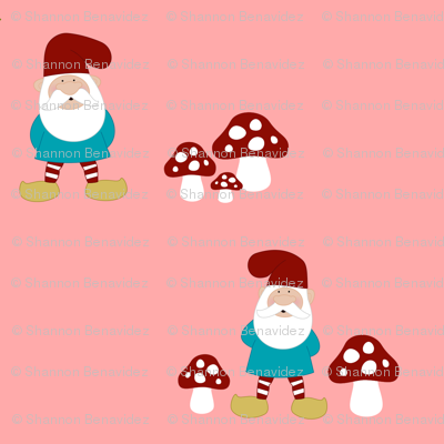 Gnomes and Mushrooms on pink