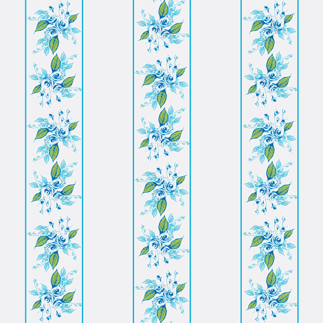 Roses Blue Stripes fabric by joanmclemore on Spoonflower - custom fabric