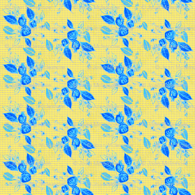 Roses blue leaves and yellow background-ch