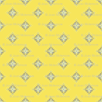Deco Diamonds yellow and gray
