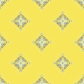 Deco Diamonds yellow and gray