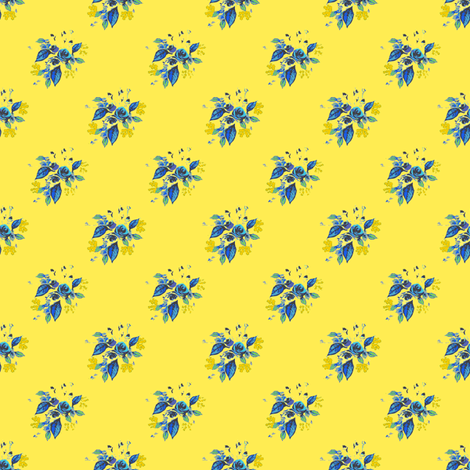 Roses in Blue with yellow background fabric by joanmclemore on Spoonflower - custom fabric