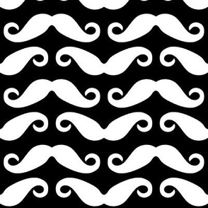 Mustache all over - Black White -LARGE