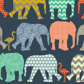 small baby elephants and flamingos sienna