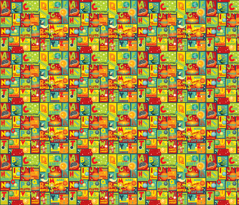 Tiny Space Alphabet fabric by jennartdesigns on Spoonflower - custom fabric