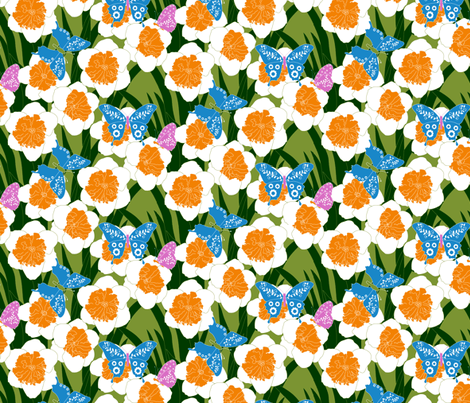 Butterflies_and_flowers CORRECT COLORS palette restriction fabric by beebumble on Spoonflower - custom fabric