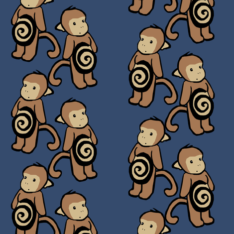 Swirl-Belly Monkeys fabric by pond_ripple on Spoonflower - custom fabric