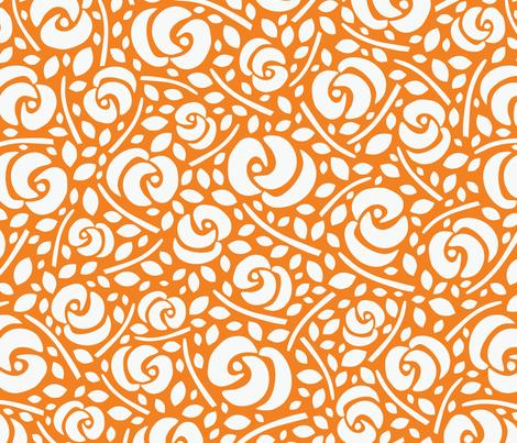 Cut Flowers, White on Orange fabric by gracedesign on Spoonflower - custom fabric