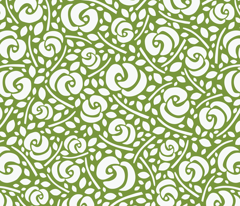 Cut Flowers, White on Green fabric by gracedesign on Spoonflower - custom fabric