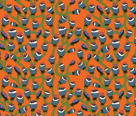 Flowers on Orange fabric by ghennah on Spoonflower - custom fabric