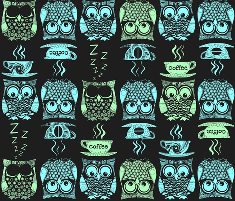 cappuccino night owls fabric by scrummy on Spoonflower - custom fabric
