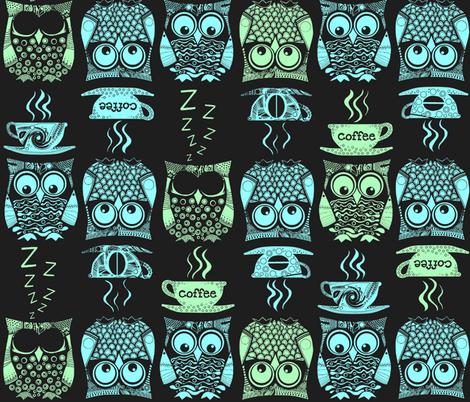cappuccino night owls fabric by scrummy on Spoonflower - custom fabric