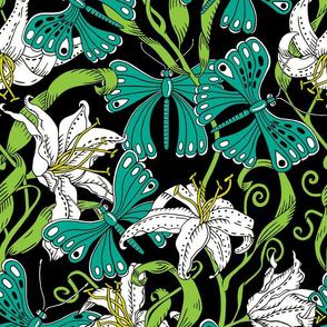 butterflies and lillies - botanical palette