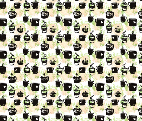 GirlThree2011_coffee fabric by nikky on Spoonflower - custom fabric