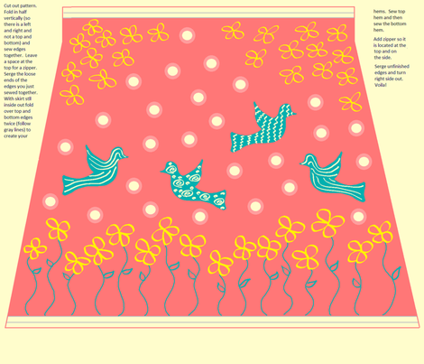 Coral Humming Bird Skirt Pattern w/ Instructions fabric by jellyfishearth on Spoonflower - custom fabric