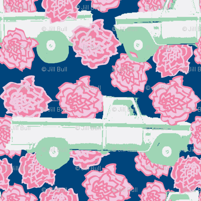 Pink Carnation and a Pick-up Truck (Navy)