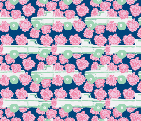 Pink Carnation and a Pick-up Truck (Navy) fabric by palmrowprints on Spoonflower - custom fabric
