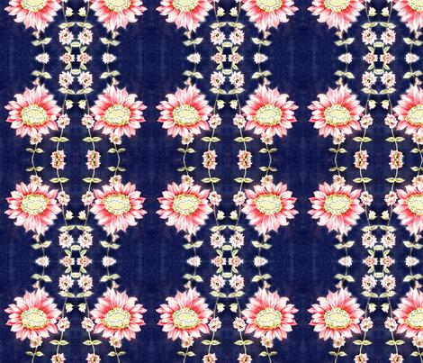 50ies_vintage_dress_fabric_pink_flowers_on_bright_navy_background fabric by vinkeli on Spoonflower - custom fabric